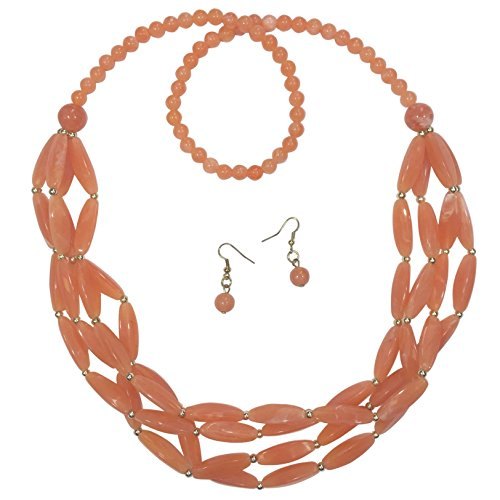 Long 3 Row Layered Bead Gold Tone Necklace & Earrings Set (Light Orange)