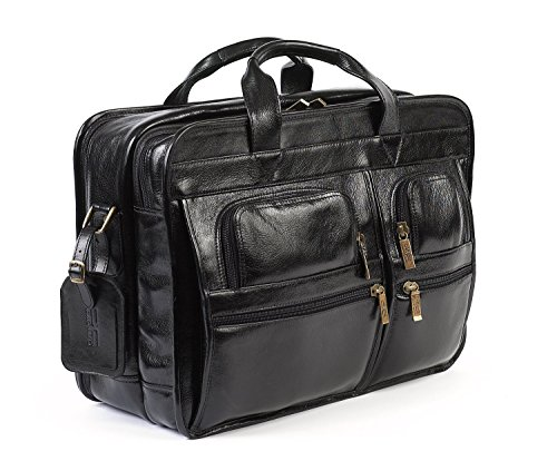 Claire Chase Italian Leather Executive Laptop Briefcase, Computer Bag in Black ()