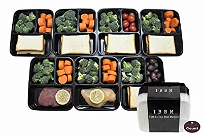 IBBM 7 Pack Reusable 3 Compartment Food Storage with Lids - Black