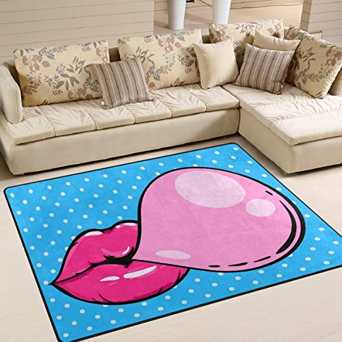 ALAZA Woman Pink Lips with Bubble Polka Dots Area Rug Rugs for Living Room Bedroom 7' x 5'