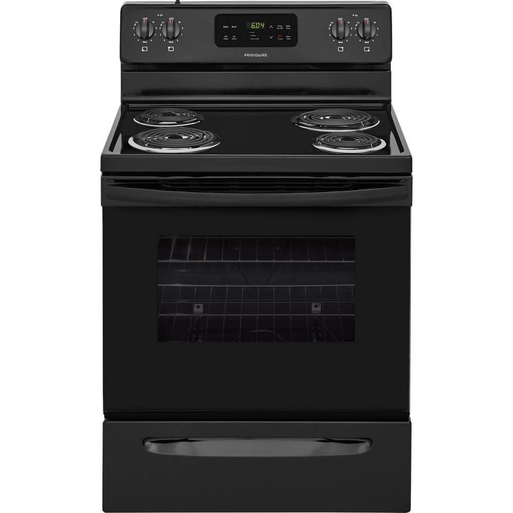 Frigidaire FFEF3016TB 30 Inch Freestanding Electric Range with 4 Coil Elements, 5.3 cu. ft. Primary Oven Capacity, in Black