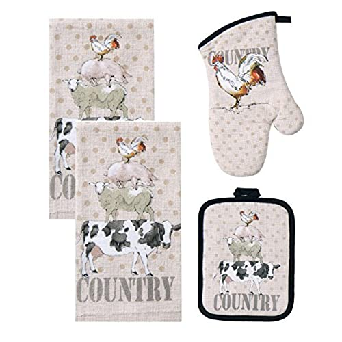 4 Piece Farm Life Kitchen Bundle / Set   2 Terry Towels, Oven Mitt,  Potholder