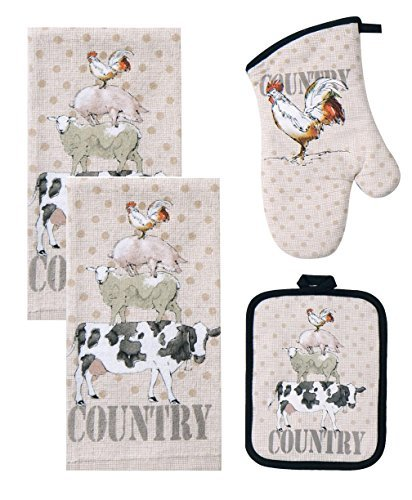4 Piece Farm Life Kitchen Bundle / Set - 2 Terry Towels, Oven Mitt, Potholder