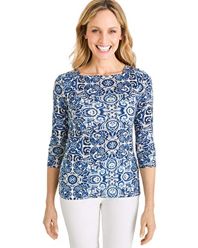 - Chico's Women's Supima Cotton Scroll-Print Side-Button Bateau-Neck Top Size 8/10 M (1) Blue