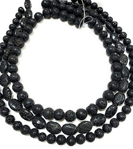[3 Strands Wholesale Lot] 100% Natural Lava Volcano Rock (Rough Cut) 10mm, 8mm Round, 10x14mm Oval Beads. Each Strand 16