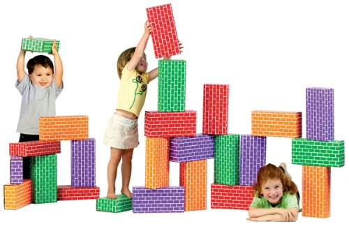 Smart Monkey Toys 4024 24 piece Giant Rainbow Block (Jumbo Cardboard Building Blocks)