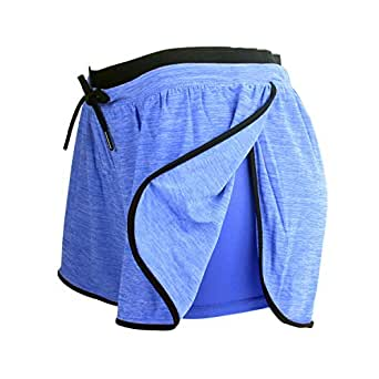 RIBOOM Women Workout Fitness Running Compression Shorts, Stretch Performance Sport Shorts,Blue ,Small