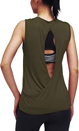 Mippo Workout Tops for Women Yoga Shirts Muscle Running Tank Tops Open Back Workout Clothes