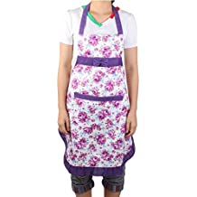 DealMux Flower Printed Restaurant Kitchen Bow Housework Cooking Apron Bib Pocket Dress White Purple