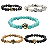 JOVIVI 5pc Men Women Gold Plated Lion Head Black Lava/Matte Agate/Picture Stone/Dragon Grain Stone/Turquoise Energy Stone Beads Stretch Bracelet 8mm