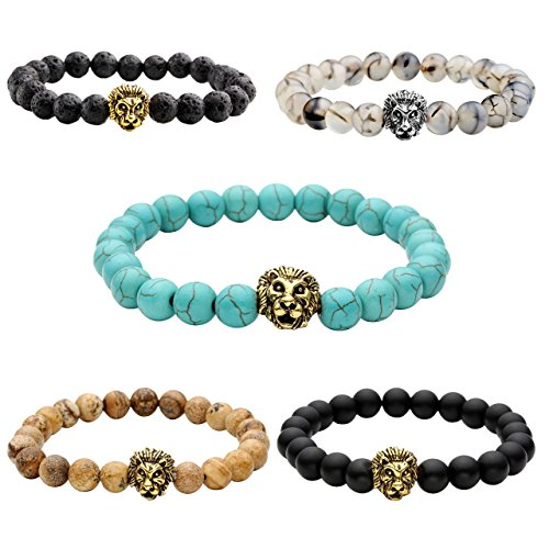 Price comparison product image JOVIVI 5pc Men Women Gold Plated Lion Head Black Lava/Matte Agate/Picture Stone/Dragon Grain Stone/Turquoise Energy Stone Beads Stretch Bracelet 8mm