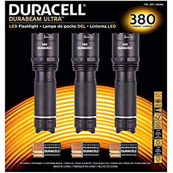 Duracell Durabeam Ultra Tactical High-Intensity Compact LED Flashlight, 3-Pack (380 Lumens, 3PK Black)