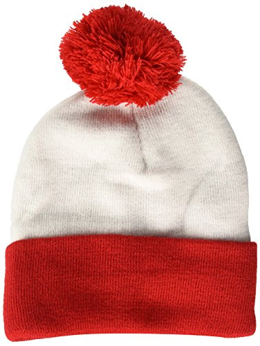 Beechfield Snowstar Duo Two-Tone Winter Beanie Hat (One Size) (Off White/Bright Red) -