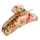 uxcell Pink Red Florals Pattern Spring Loaded Hair Claw Clip Barrette Beige for Ladies