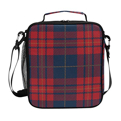 (Lunch Box Bag Insulated Lunch Tote Blue Red Tartan Plaid Scottish Pattern Thermal Cooler Shoulder Strap Portable Food Container Travel Office School Picnic For Women Kids Children)