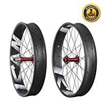 ICAN 26er Carbon Fat Bike Wheels Clincher Tubeless Ready Width 90mm 32 Holes Rim Shimano 10/11 Speeds Red
