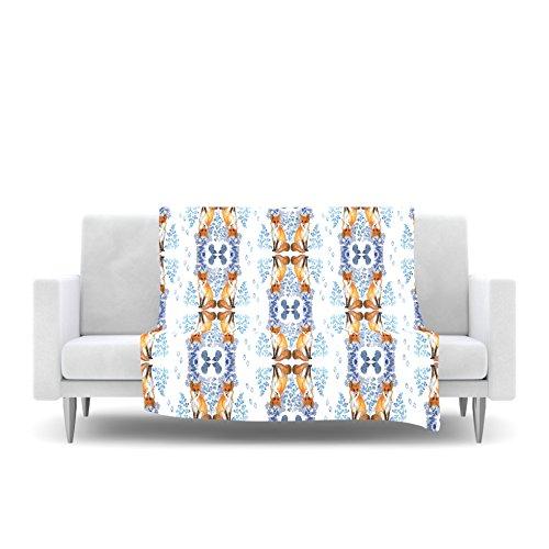 60 by 50 Kess InHouse DLKG Design Red Fox in Snow Blue Orange Fleece Throw Blanket
