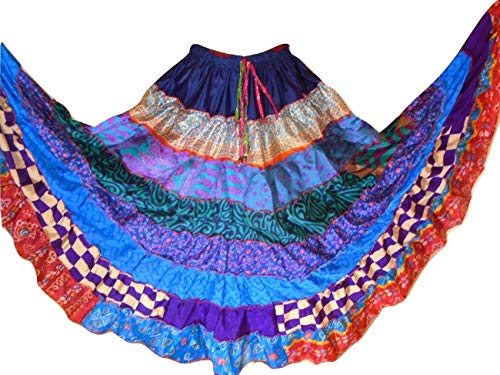 Banjara 9 Yard Tribal Gypsy Maxi Tiered Skirt Belly Dancing Skirts Silk Blend M L (C67)