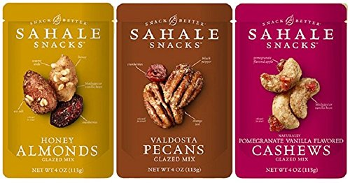 (Sahale Snacks Glazed Nuts 3 Flavor Variety Bundle: (1) Sahale Snacks Almonds With Cranberries, Honey & Sea Salt, (1) Sahale Snacks Valdosta Pecans With Sweet Cranberries, Black Pepper & Orange Zest, and (1) Sahale Snacks Cashews With Pomegranate & Vanilla, 4.0 Oz. Ea.)
