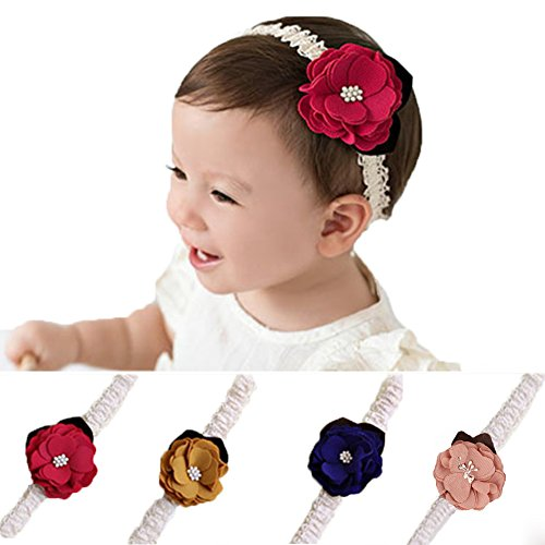 DANMY Baby Girl Super Stretchy Headband Big Flower Pearl Baby Hair Band Newborn Hair Accessories(4PCS)(Mixed color (4PCS)