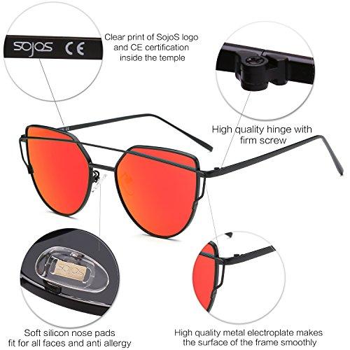 C5 Gafas SJ1001 Sol De Mujer De Frente Con Planos Negro Rojo Ojo Moda Lentes De Para Gato SOJOS De Metal Marca Lentes Estilo Espejo FqydHUEFxw