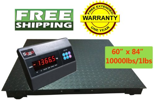 Saga 60''X84'' Floor Scale 5'X7' 10000 LBS Capacity Manufactory Calibrated with Professional Indicator. Brand New Pallet Shipping Scale by SAGA