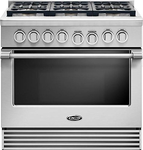 DCS RGV2366N 36' Natural Gas Range with 6 Sealed Dual Flow Burners 5.3 Cu. Ft. Oven Capacity Convection Bake and Flat Vent Trim: Stainless