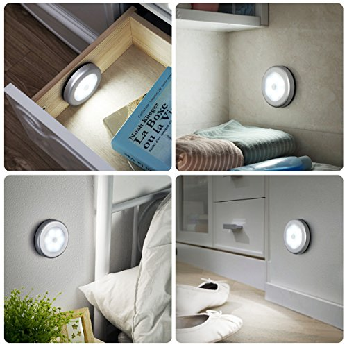ORIA Motion Sensor Light, LED Night Light, Stick-Anywhere Wall Light, Closet Lights Stair Lights, Safe Lights with Magnetic Strip, for Bathroom, Bedroom, Lockers, Kitchen (Pack of 3) by ORIA (Image #1)