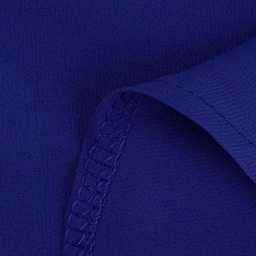 4 3 Grande Femmes Fluide Chic Taille Tunique Mousseline Chemisier Soie Kingwo Bleu Manche Chemise de naIpxvqq