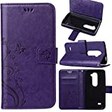 LG Leon Case, LG Tribute 2 Wallet Case, Harryshell(TM)Flower Floral Stamp Wallet Folio Leather Flip Case Cover with Credit Card Id Holder for LG Sunset/ LG Leon / LG Power/ LG Destiny/ LG Tribute 2