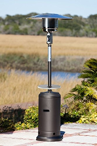 Golden Flame 46,000 BTUXL-Series Matte-Mocha Patio Heater w/Drink Table & Wheels