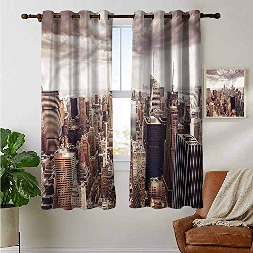 petpany Curtains for Bedroom Cities of States,Metropolitan NYC,Darkening and Thermal Insulating Draperies ()