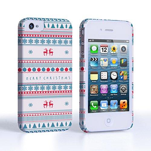 Caseflex iPhone 4 / 4S Hülle Frohe Weihnachten Rentier Schneeflocke Hart Schutzhülle