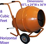 8 CU FT Wheel Barrow Portable Cement Concrete Mixer