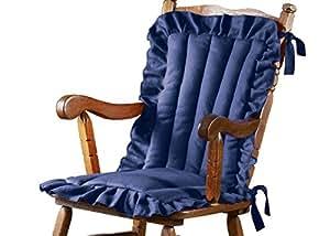 Amazon Com Ruffled Edge Comfort Chair Cushion Blue Home
