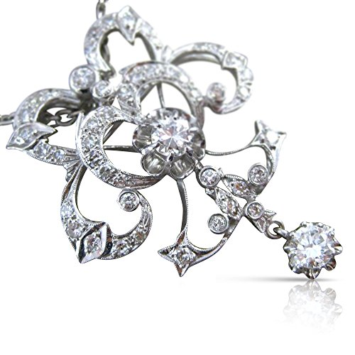 (Milano Jewelers EXTRA LARGE 1.82CT DIAMOND 18KT WHITE GOLD FLOWER PENDANT BROOCH)