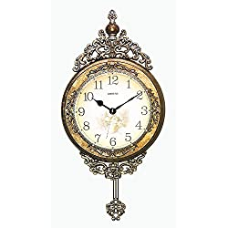 IMPORTED GIFT DEPOT Antique Chinese Emperor Gold and Silver Wall Clock with Swinging Pendulum
