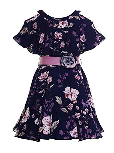 30126d28b Naughty Ninos Girls Navy Blue Floral Printed Cold Shoulder Dress for ...