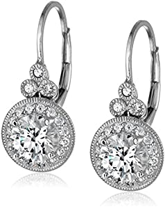 Platinum or Gold Plated Swarovski Zirconia Vintage Drop Earrings, also available in sets from Amazon Collection