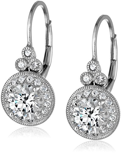 Platinum Plated Sterling Silver Antique Drop Earrings set with Round Cut Swarovski Zirconia (3.5 cttw) (Sterling Silver Earrings Antique)