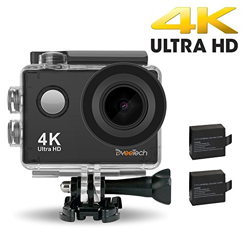 DVEETECH S2 4K Sports Action Camera Waterproof WIFI Camcorder 16MP 170° Ultra Wide-Angle Car Mode 2x900mAh Batteries Portable Package Accessory Set Action Cameras ShenZhen Dveetech Technology Co., Ltd