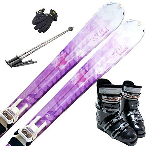 VOLKL (フォルクル) スキー5点セット ESSENZA ARGENTO ビンディング/ブーツ/ストック/グローブ付き B01MQYDF2G ブーツ28cm/メンズグローブ付き|スキー147cm(ワクシング施工)/ストック115cm  ブーツ28cm/メンズグローブ付き
