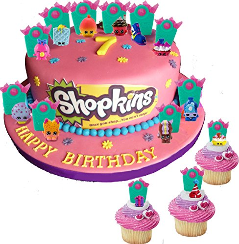 Shopkins Party Cupcake Cake Toppers With Surprise Shopkins Figure Hidden Inside Shopping Bags And Shopkins Tattoos Set Of 12 by Shopkins