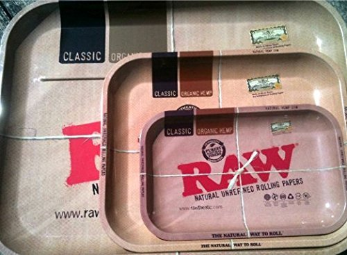 Raw Rolling Trays (Set of 3 Trays) Medium, Large, and XXL + FREE Raw 110mm Roller + Limited Edition Beamer Smoke Sticker by Beamer
