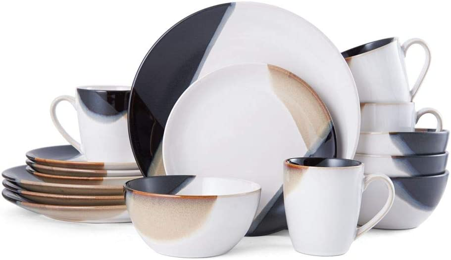 | Gourmet Basics by Mikasa Caden 16-Piece Dinnerware Set, Service for 4 -, Assorted: Dinnerware Sets