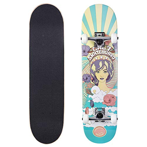 Cal 7 Complete Skateboard, 7.75 Deck with 5 Inch Trucks, Full Size Pro Popsicle Board for Kids & Adults (7.75