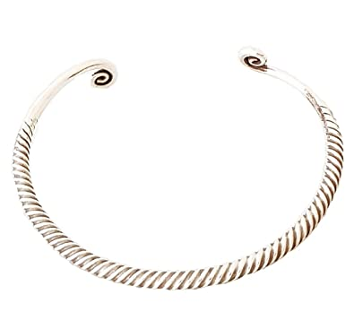 44f2ed62884 FAB Women Silver Bangle Bracelet Made from 925 Sterling Silver with Spiral  Details: Amazon.co.uk: Jewellery