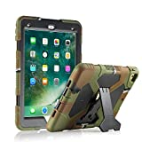 New iPad 9.7 2018/2017 Case, KIDSPR Lightweight Shockproof Rugged Cover with Stand Protective Full Body Rugged for Kids for New Apple iPad 9.7 inch 2018/2017 (6th Gen, 5th Gen) (Army/Black)