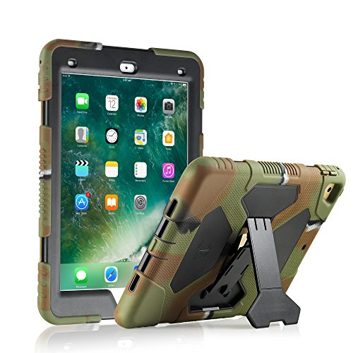 ACEGUARDER New iPad 9.7 2017 Case [Impact Resistant] [Shockproof] [Heavy Duty] Full Body Rugged Protective Cover with Kickstand & Dual Layer Design for Apple New iPad 9.7 inch 2017 (Army Camo/Black) (Womens 5th Black Leather)
