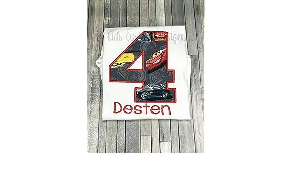 Embroidered Cars 3 Birthday Shirt Lightning Mcqueen Jackson Storm Cruz Ramirez Ages 1 7